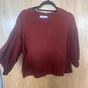 Anthropologie red 3/4 serve top